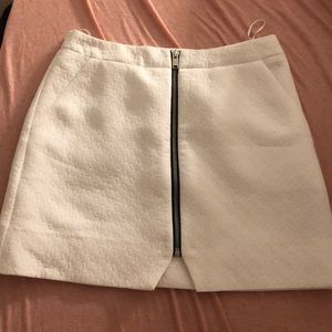 topshop white zip up skirt